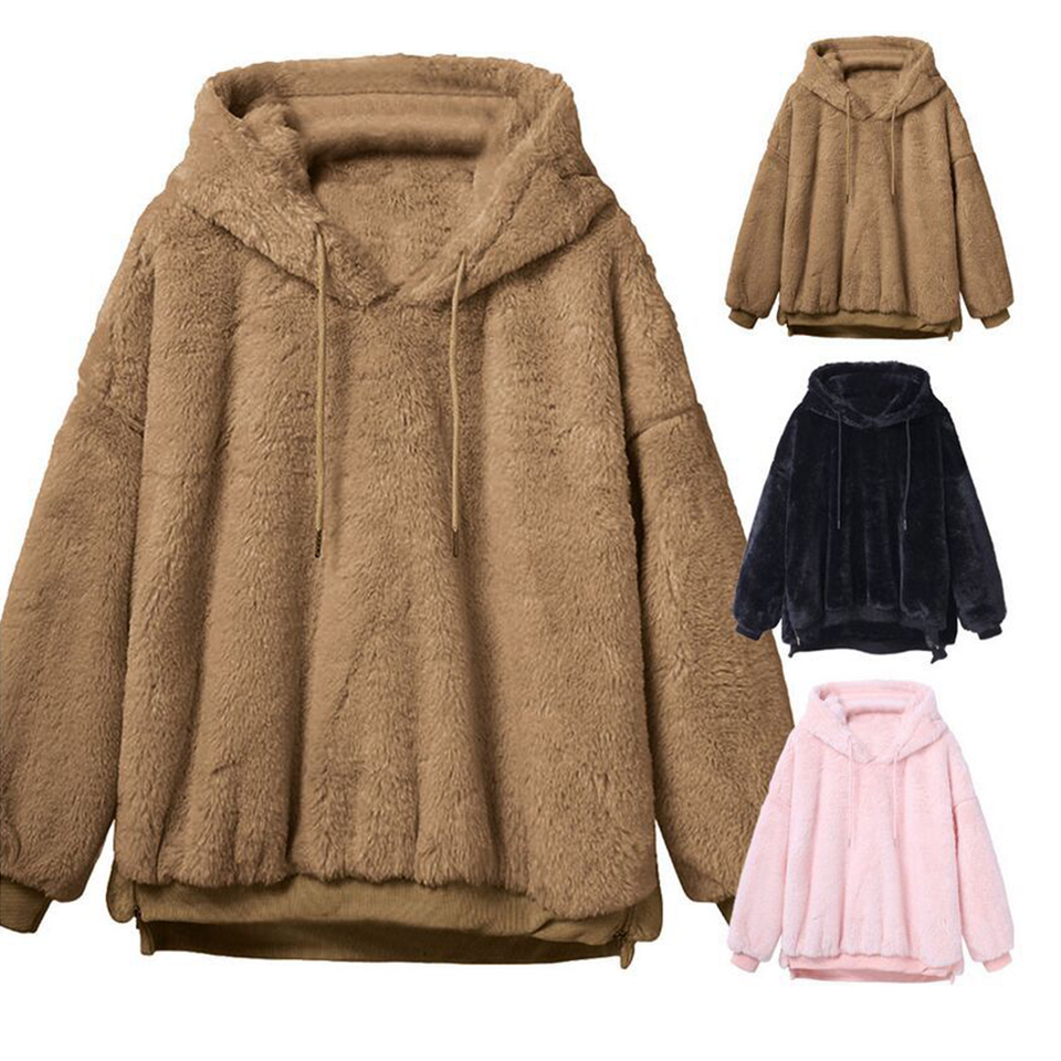 Plush Sweatshirt Warm Hoodies For Women Poleron Mujer 2019 Plain Thick Hoodies Harajuku Xxl Oversized Side Zip Hoodie Drawstring