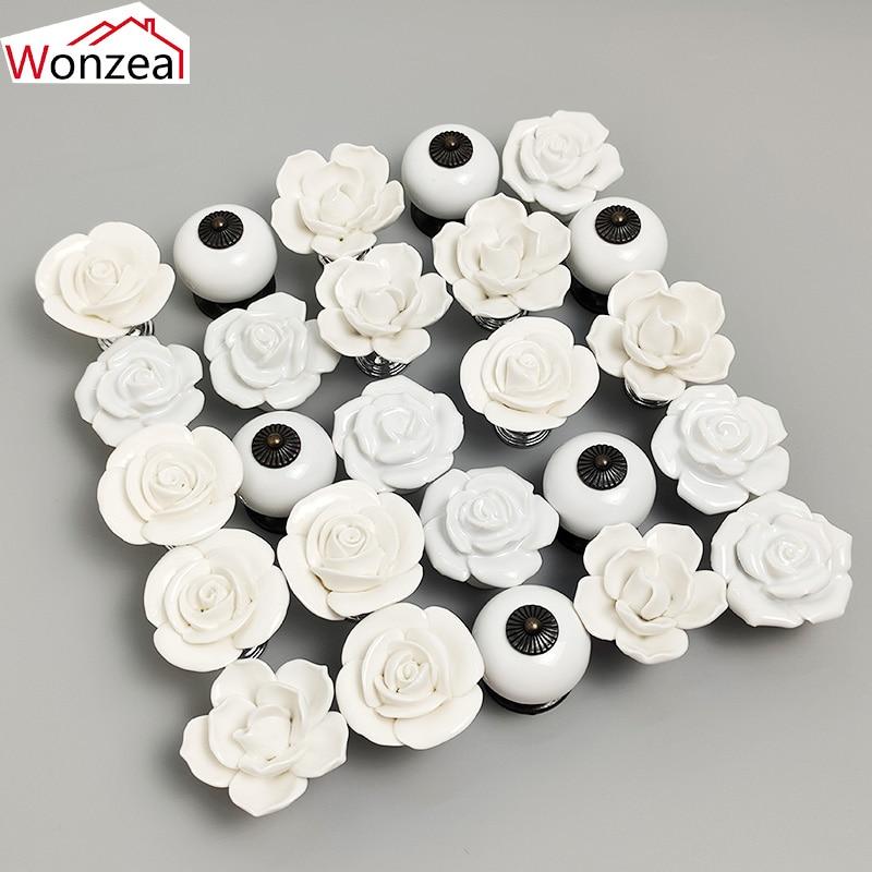 6PCS White Rose Ceramic Handles Cupboard Cabinet Door Knobs Kitchen Drawer Closet Pulls Furniture Handles With Screw