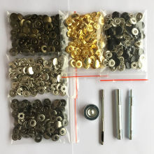 50 conjunto de couro prendedores de pressão kit, 10mm 12.5mm 15mm botão de metal snaps parafusos de imprensa, 4 ferramentas de instalação, 5 cores couro snaps diy