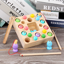 цена на Wooden Montessori Toys Kids Early Learning Educational Toys Clip Beads Magnetic Fishing Game Teaching Aids Toy For Children Gift