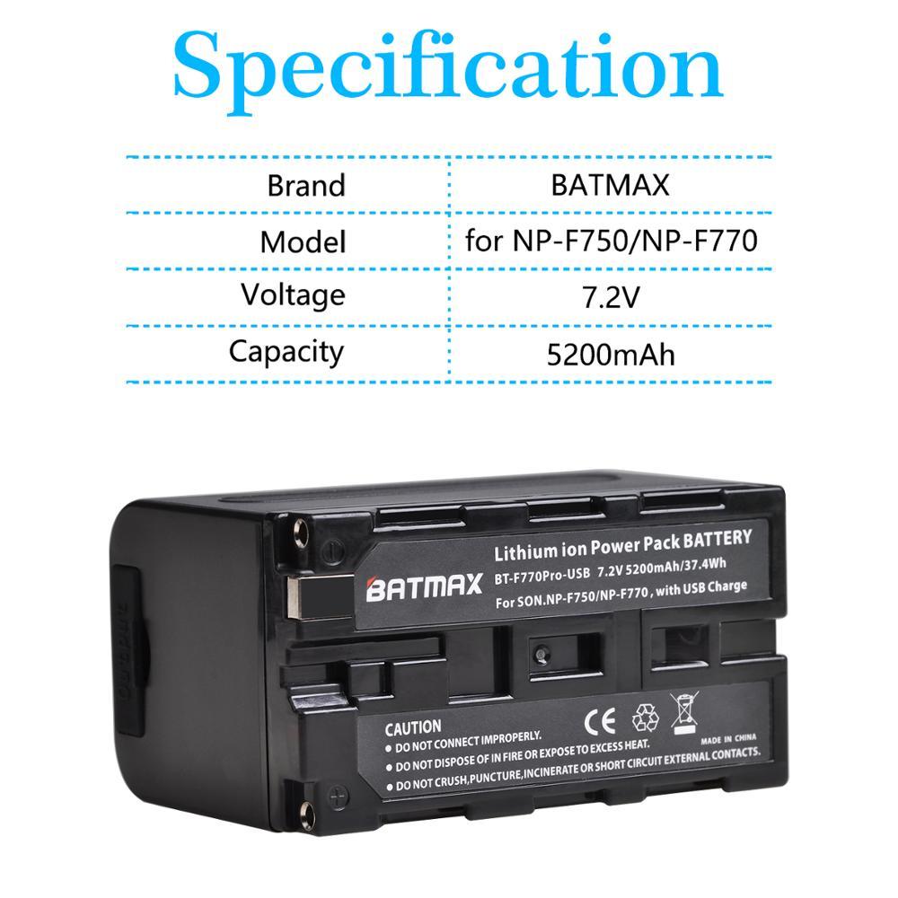 Batmax Новый NP-F770 NP-F750 np f750 NPF770 Батарея с зарядным устройством USB Выход для sony NP F970 F960 F550 F570 QM91D CCD-RV100 TRU47E