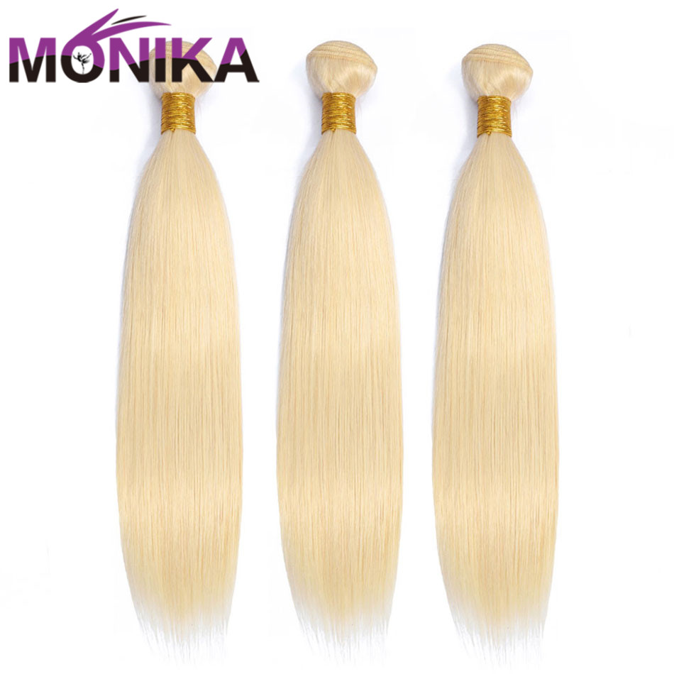 Monika 613 Bundles Peruvian Straight Hair Bundle Deals Blonde Bundles Human Hair Tissage Blond Non-Remy Honey Blonde 4/3 Bundles