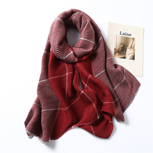 Image 2 - Lady Winter Cashmere Scarf for Women Plaid Solid Pashmina Scarves Crinkle Thick Wool Knit Unisex Neck Scarfs Stole