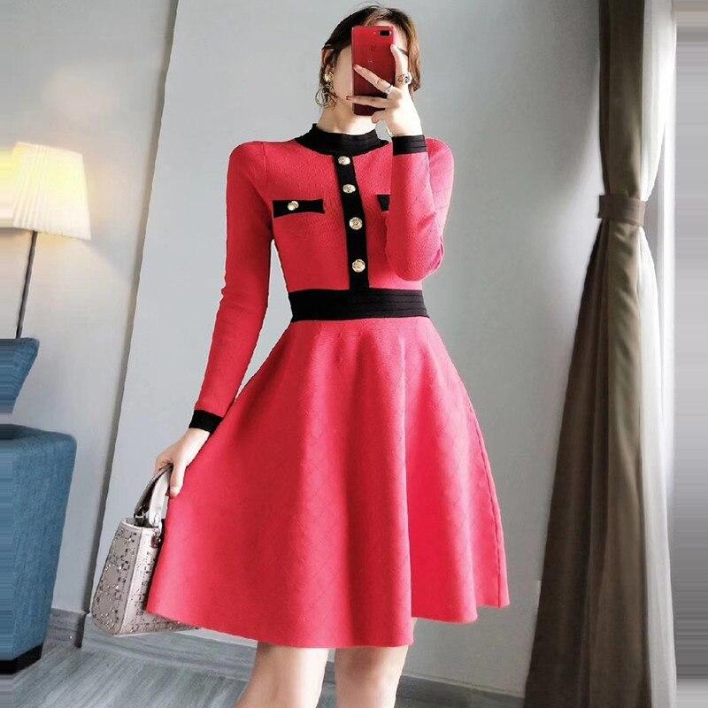 Élégant robe pull 2019 automne hiver col montant simple boutonnage à manches longues robe a-ligne robe tricotée élégant P-274 robes - 5