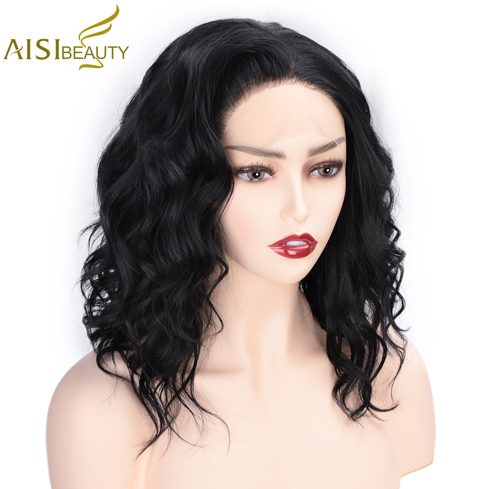 AISI BEAUTY 13*4 Synthetic Lace Front Wigs Short Wavy Black Hair for Women Free Part Cosplay Wig 613 Blonde/Pink Color Available
