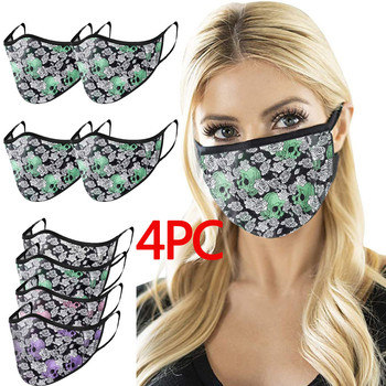 Adult Halloween Skull Print Breathable Reuse Protective Washable Face Mask Cotton Windproof Suncreen Men and Women mascherina image