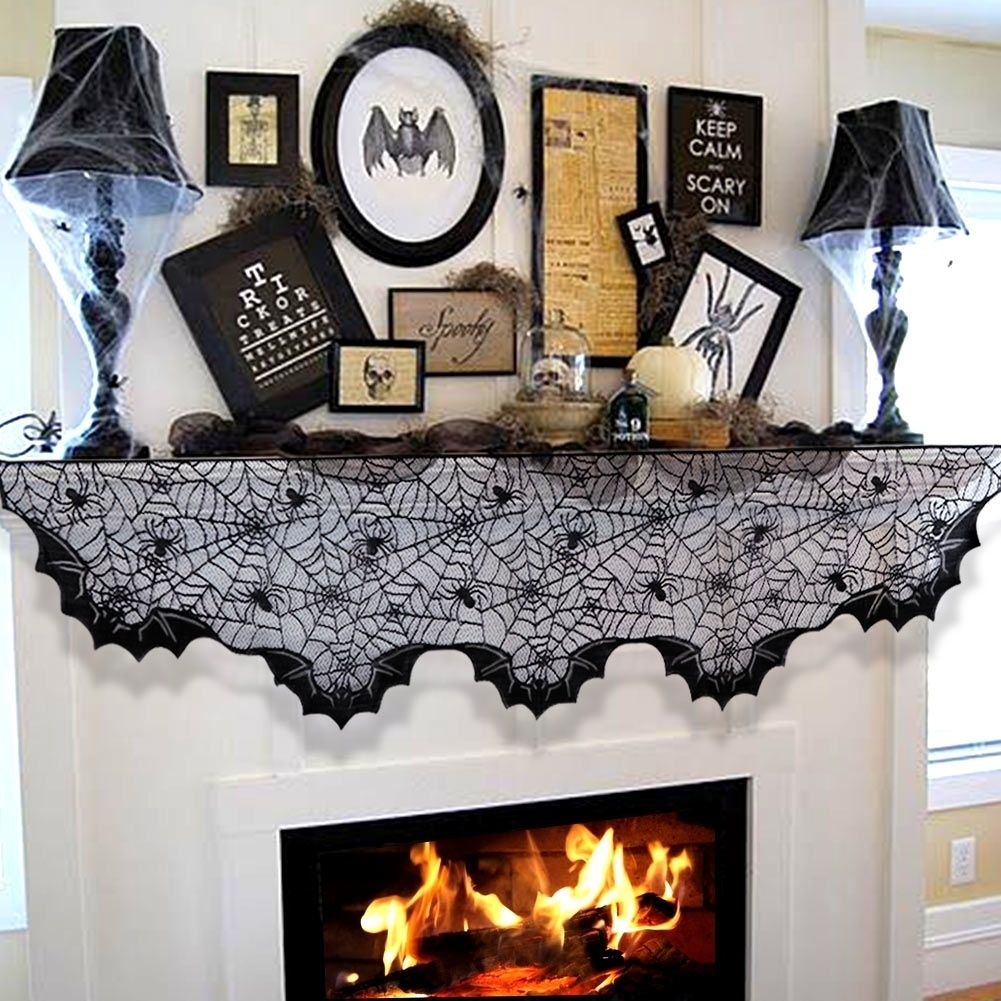 METABLE 1PCS Halloween Party Decoration Spider Web Bats Fireplace Mantel Scarf Black Lace Polyester Cover