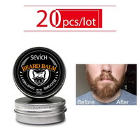 Sevich 20pcs/lot 30g Men Organic Beard Oil Balm Mustache Wax Styling Beeswax Smoothing Gentlemen Beard Care Natural Beard Balm