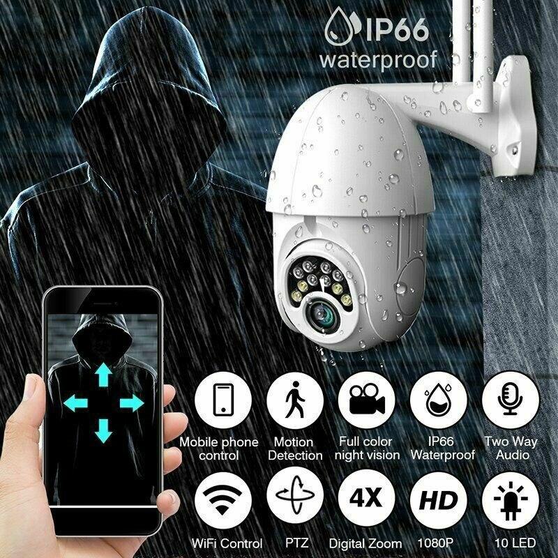 En Stock! 1080P HD WiFi caméra dôme extérieure sans fil sécurité Vision nocturne Zoom AU Plug