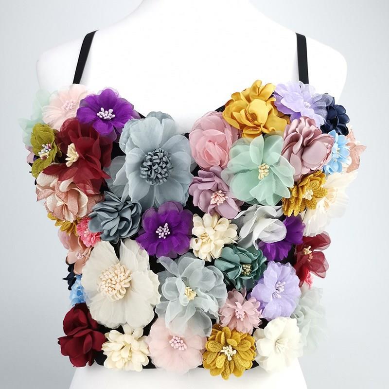 Offre spéciale fleur Patchwork Sexy femmes gilet sans manches Hit couleurs sans bretelles haut court femme décontracté été 2019 mode nouveau