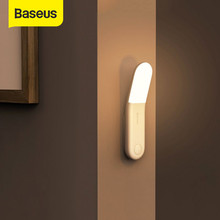 Baseus Led Induction veilleuse corps humain Induction veilleuse lampe USB Rechargeable LED lumière capteur de mouvement allée lumière(China)