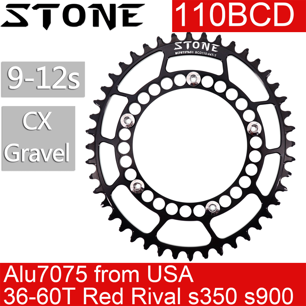Stone <font><b>chainring</b></font> <font><b>110</b></font> <font><b>BCD</b></font> <font><b>Oval</b></font> Gravel 36t 42 48 50 52 54 56 58 60T Road Bike Tooth Plate For 110BCD CX for sram rival force red image