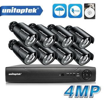 8CH 4MP POE IP Cámara cámara del sistema de vigilancia CCTV Kit impermeable IP66 con 8 Uds 48V POE bala Cam sistema NVR P2P nube vmeyecloud de