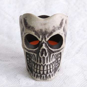 Decoración Para fiesta de Halloween, velas de té, Calavera colorida, forma esqueleto 3D sin llama, sin aroma, batería operada (incluida)