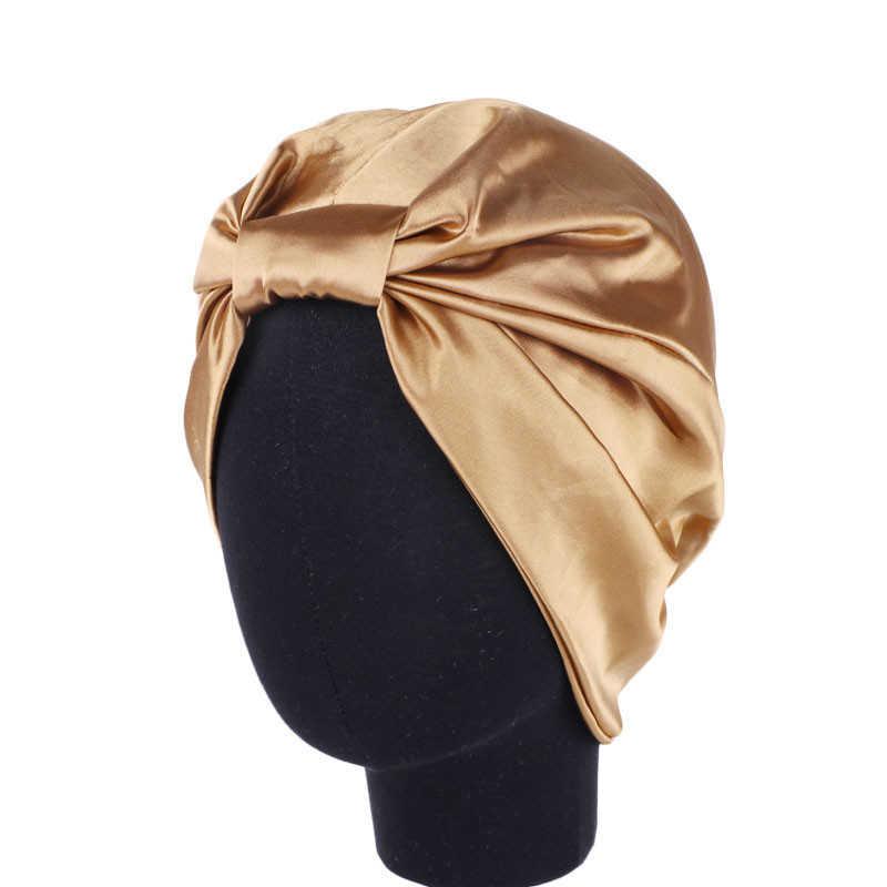 Élastique Double couche Satin bonnet de couchage Protection des cheveux bonnet de douche filles Turban Bandana femmes fausse soie tête foulard