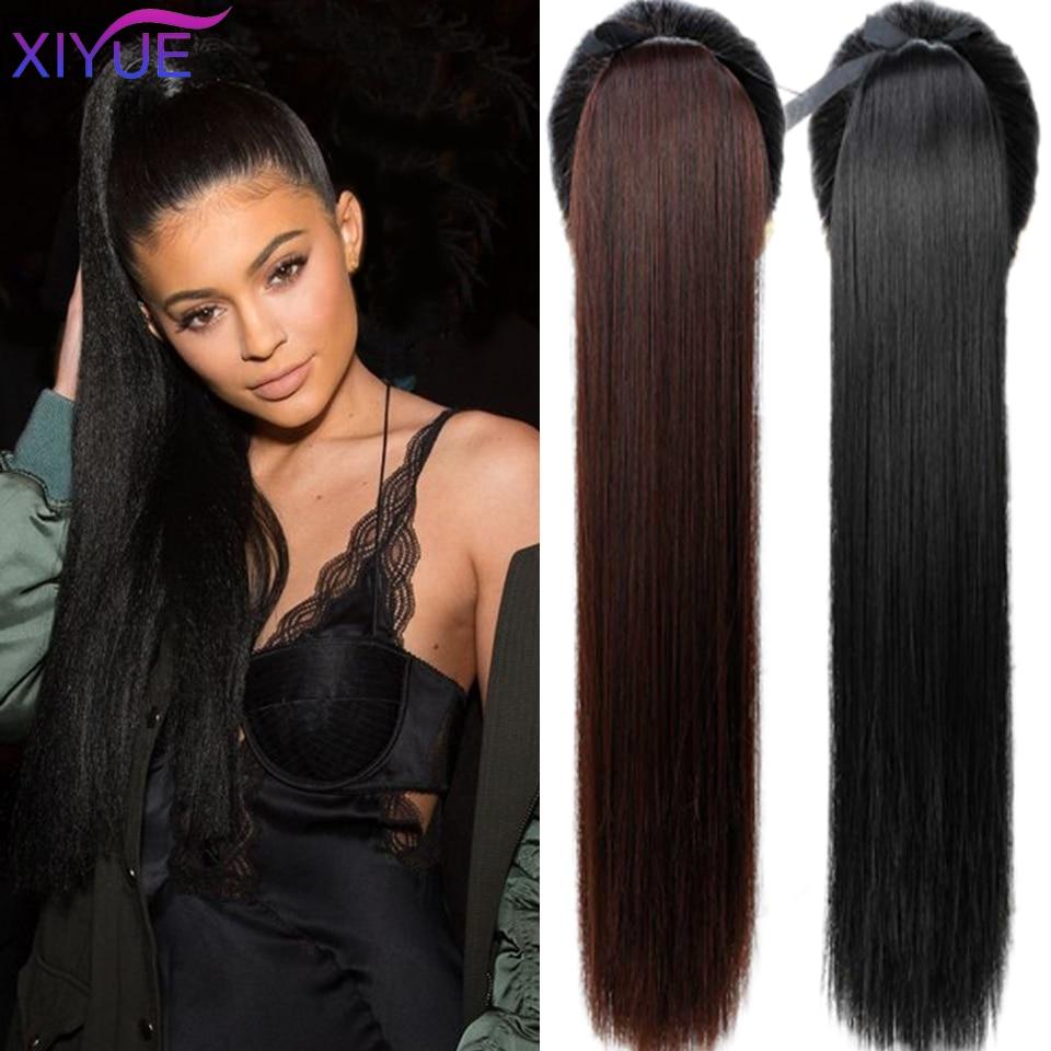 Синтетические волосы для наращивания, супердлинные прямые накладные хвосты, конский хвост, термостойкие, 85 см