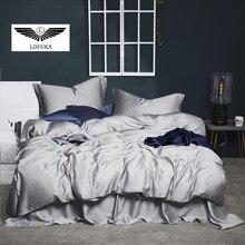 Lofuka Women Luxury 100% Silk Gray Bedding Set 6A Grade Beauty Sleep Quilt Cover Set Quuen King Bed Linen Pillowcase For Sleep