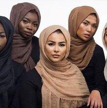 Hijabs lenço de algodão e linho feminino, envoltório feminino liso hijab 180cm 90cm
