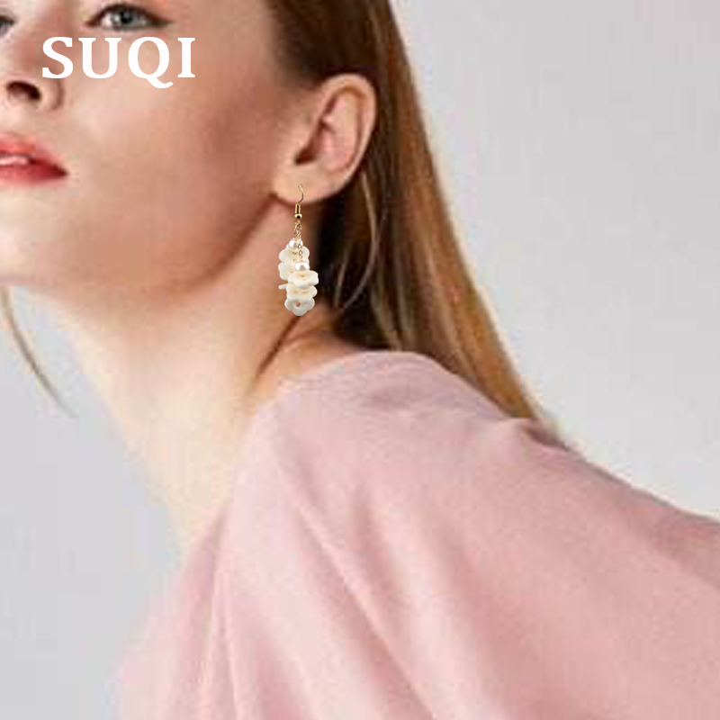 SUQI Non-toxic healthy stainless steel pearl Necklace earrings Pendant Women gold Boho Femme party Bride jewelry set