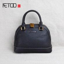 AETOO Handmade leather womens bag, mini small shell head oblique span bag