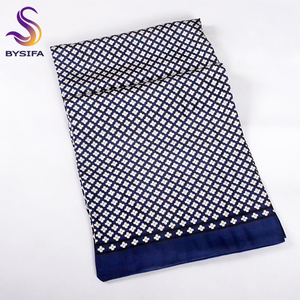 Image 2 - [BYSIFA] Brand Men Silk Scarf Muffler Winter Fashion Accessory 100% Pure Silk Male Plaid Long Scarves Cravat Navy Blue 160*26cm