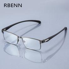 Rbenn men business óculos de leitura quadro completo aço inoxidável presbiopia óculos para masculino + 1.0 1.5 2.0 3.0 3.5 4.0