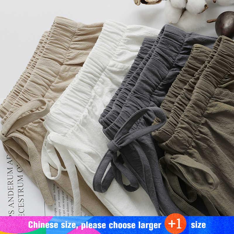 2020 새로운 뜨거운 여름 캐주얼 코 튼 린 넨 반바지 여성 플러스 크기 높은 허리 반바지 패션 짧은 바지 Streetwear 여성 반바지
