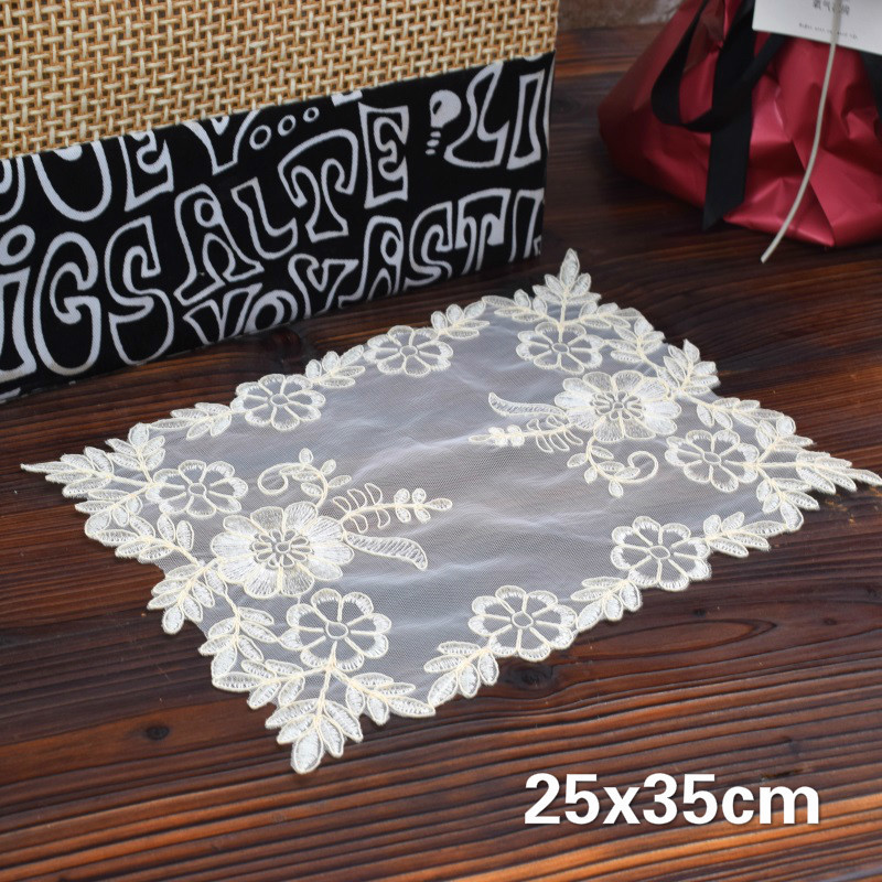 Vintage Pastoral Style Rectangular Lace Embroidery Western Placemat Balcony Coffee Small Round Table Mat Coaster Furniture Cloth