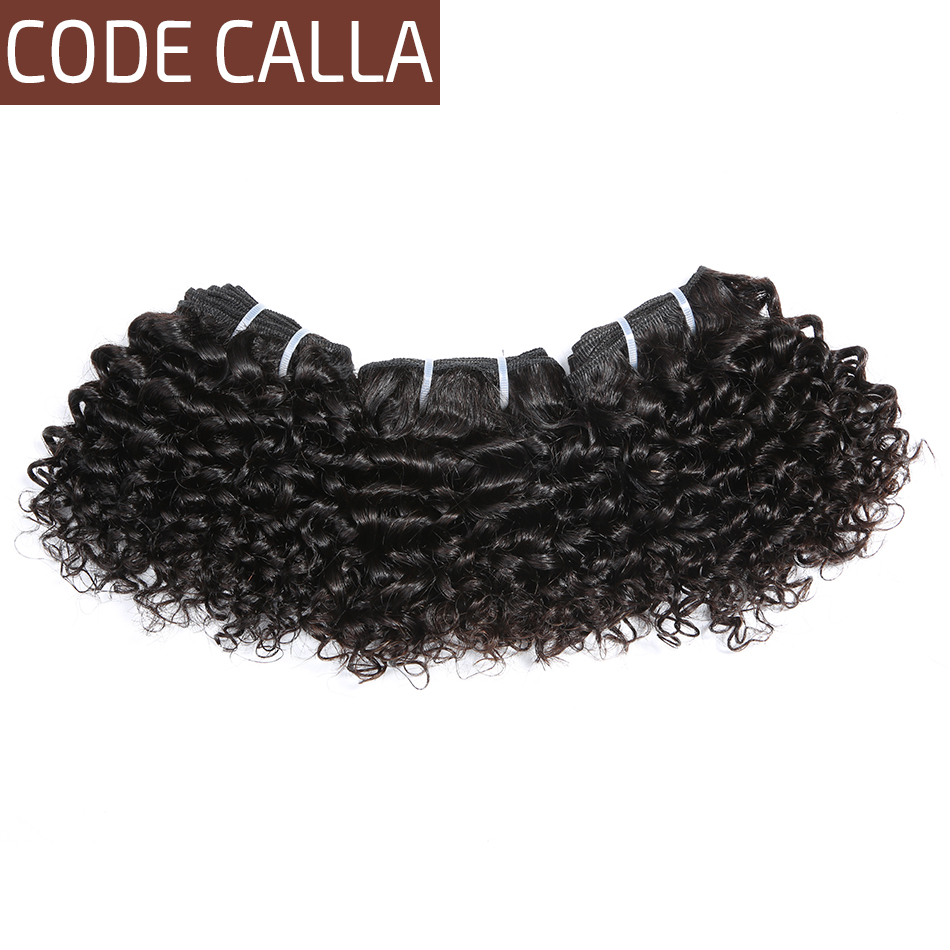 Short Kinky Curly Hair Weave Bundles CodeCalla Cheap Wholesale Price Indian Remy Human Hair Extensions Natural Black Brown Color 5