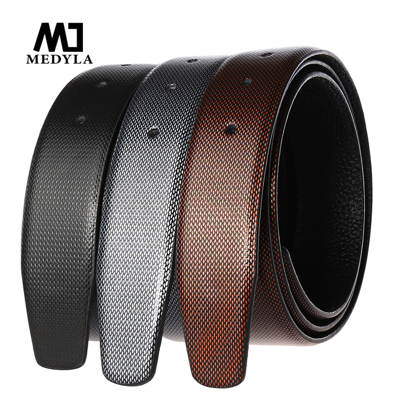MEDYLA Natural Leather Men's Business Belt Without Buckle Luxury Diamond Texture Leather Belt For Men's Matte Gray Pin Buckle