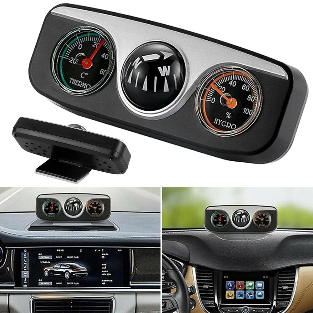 2 in 1 Guide Ball Car Compass Thermometer Car Ornament Direction Dashboard BJKU