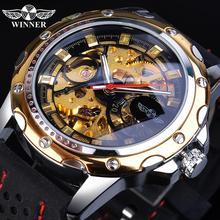 Winner Men Skeleton Analog Mechanical Watch Automatic Luminous Hands Silicone Rubber Band Military Sport Wristwatch For Man Gift цена