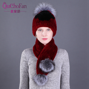 Girl Fashion Winter Hat & Scarf Set For Women Girls Warm Beanies Scarf Pompoms Real Fur Hats Knitted Caps And Scarf 2 Pieces/Set solid soft winter pompoms hats for women knitted hats for girls wool big ball caps casual black beanies warm hat gorrses