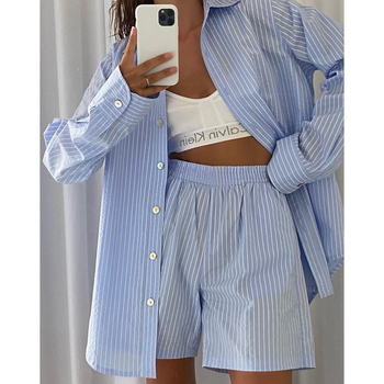 Blue Striped Long Sleeve Shorts Women Sets Single-Breasted Shirt High Waist Loose Pants Female 2 Pieces Set 2021 Summer Casual 1
