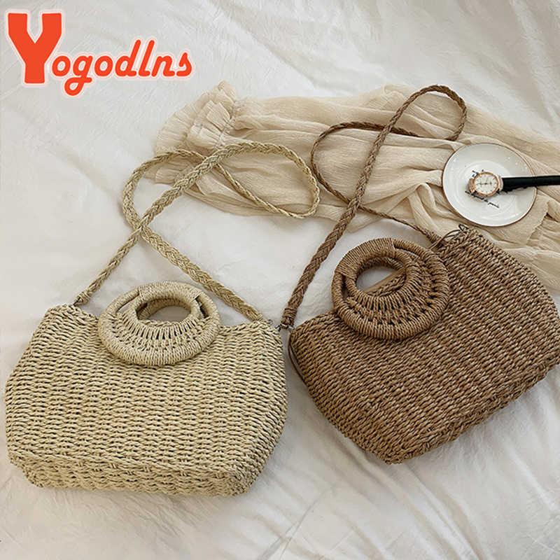 Yogodlnsผู้หญิงฤดูร้อนStraw Beach Bag Handmade Crossbodyกระเป๋าRaffiaวงกลมหวายกระเป๋าโบฮีเมียนตะกร้าทอกระเป๋า