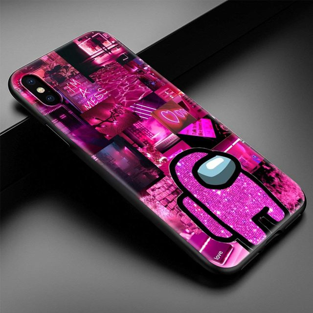 Among Us Cute stars Phone Case for iPhone 12 Mini 11 Pro Max 7 8 XR X XS MAX 6 6S 7 8 Plus SE 2020 TPU Soft Black Cover