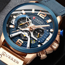 CURREN Casual Sport Watches for Men Blue Top Brand Luxury Military Leather Wrist Watch