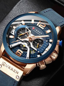 Curren casual sport ceasuri pentru barbati albastru de top de brand de lux militare din piele ceas de mână