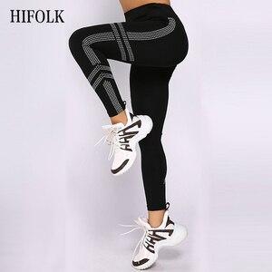 Image 3 - Hifolk cintura alta mulheres workout leggings push up hip sexy leggings respirável absorver suor calças de fitness para esportes ginásio preto