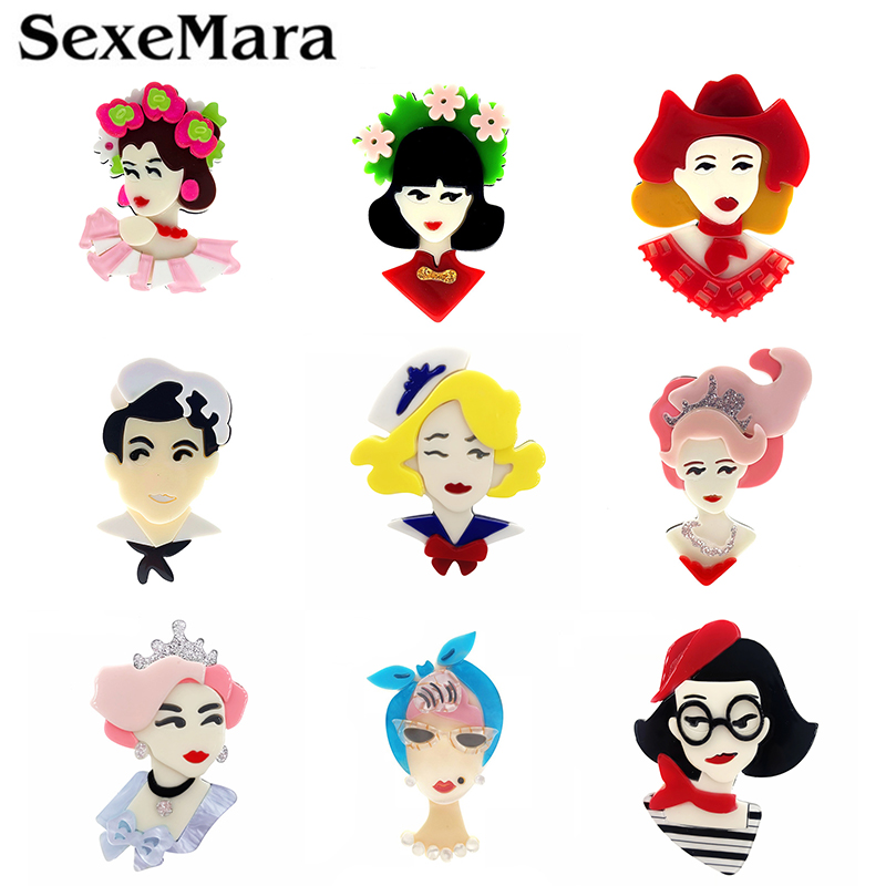 SexeMara New Design Acrylic Girl Brooch For Women Luxury Cartoon Lovely  Lapel Badges Female Fashion Gift Broche