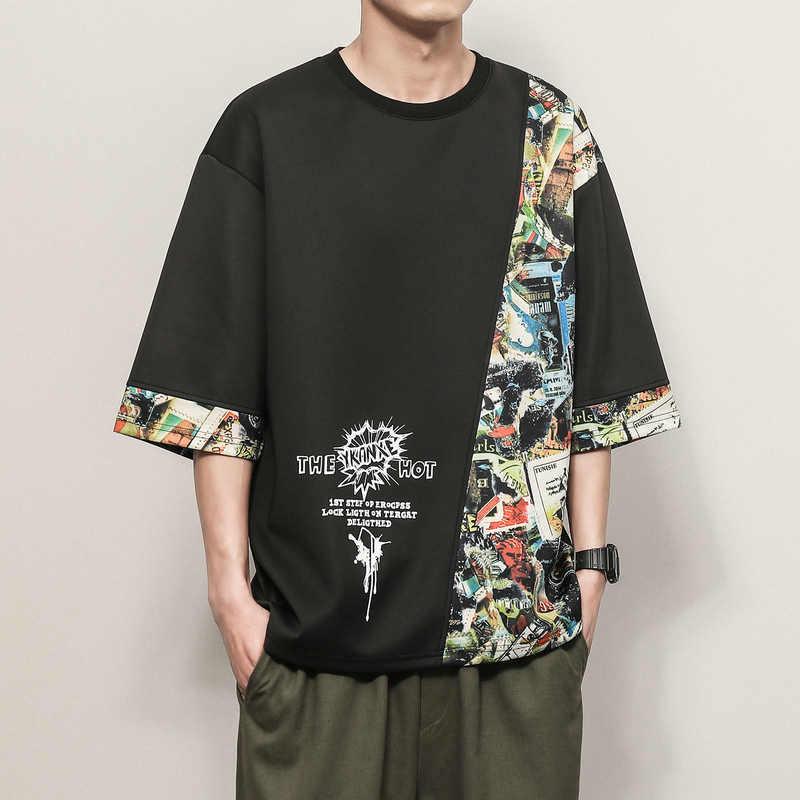 Koszulka z krótkim rękawem męska 2020 letnia luźna koszulka koszulki hip-hopowe modne, punkrockowe ubrania Plus rozmiar M-4XL 5XL O NECK
