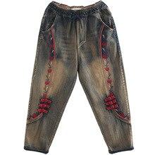OMIKRON женские осенние модные винтажные цветочные джинсы с вышивкой женские свободные повседневные Лоскутные эластичные шаровары