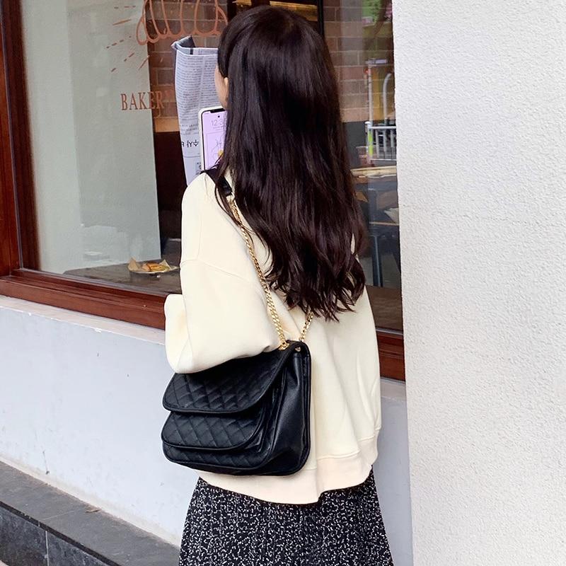 Women's Bags Soft Leather Rhombic Chain Bag Ladies Shoulder Crossbody Bag New 2020 Texture Wild Fashion Big Bag Messenger Bags