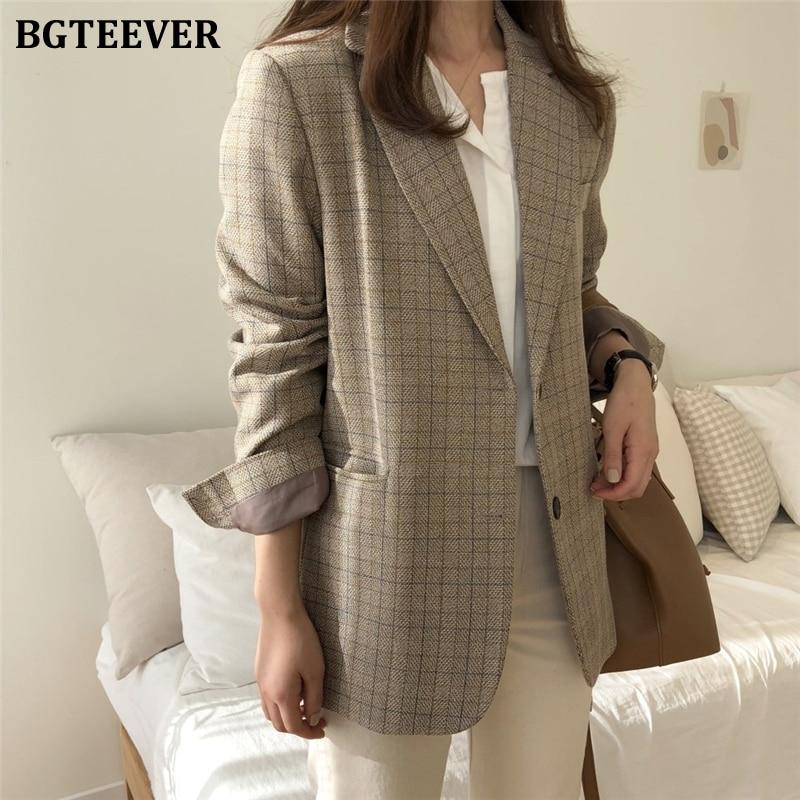BGTEEVER Vintage Plaid Single-breasted Women Blazer Notched Collar Work Style Female Suit Jacket 2019 Elegant Brief Grid Outwear
