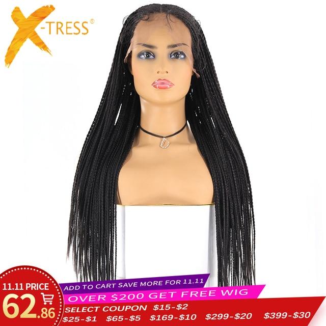 13x4 Spitze Front Synthetische Geflochtene Perücken X TRESS Lange box cornrow Braid faux loks Perücke African American Frauen Frisur mittleren Teil