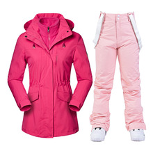 New Thick Warm Winter Ski Suit for Women Waterproof Outdoor Sports Snow Jackets and Pants Female Ski Equipment Snowboard Jacket