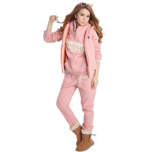 Image 4 - Plus Size M 6XL Casual Brief Hooded Fleece Sweatshirt Drie Stukken Set Herfst Winter Vrouwen Pak Warme Fluwelen Vrouwen Trainingspakken