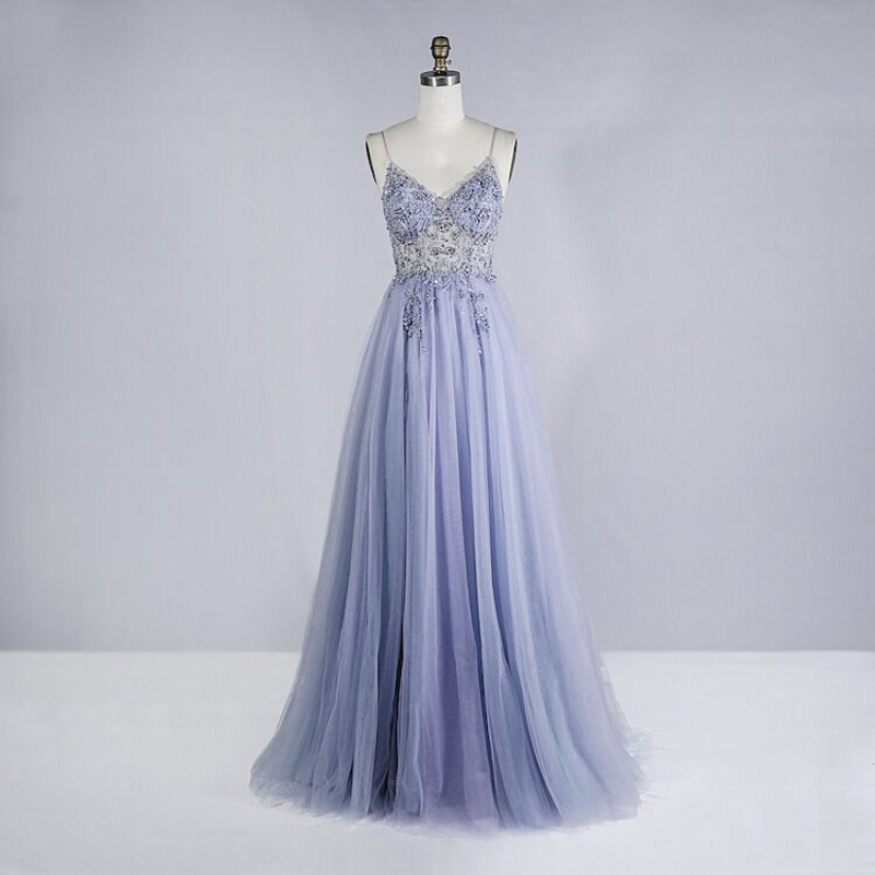 Beaded Crystal Prom Dresses 2020 Long Sexy See Through A-Line Split Tulle V Neck Spaghetti Strap Evening Formal Gown