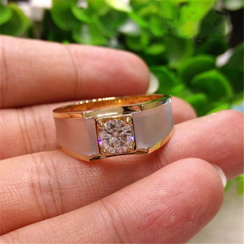 18K Yellow Gold 1 Carat Diamond Ring for Men Fine Anillos De Bizuteria Square 18K Gold Gemstone Engagement Ring for Men Jewelry