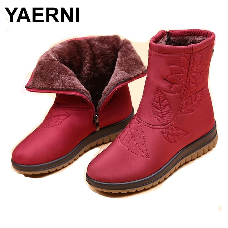 YAERNIWomen winter boots women shoes plus insole high quality fur snow boots woman ankle boots Winter waterproof shoesE1216